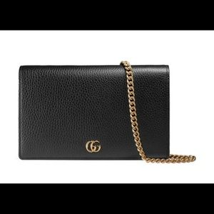 Gucci GG Marmont Wallet Purse with Gold Chain